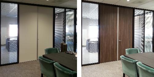 Interieurrenovatie met 3M DiNoc folie op binnendeuren vergaderruimte door n Restyling interieur